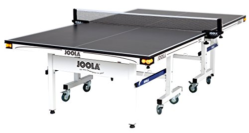 JOOLA Rally TL - Professional MDF Indoor Table Tennis Table w/ Quick Clamp Ping Pong Net & Post Set - 10 Minute Easy Assembly - Corner Ball Holders - USATT Approved - Ping Pong Table w/ Playback Mode