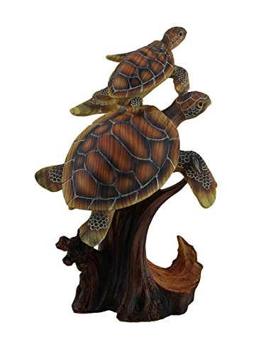 - Zeckos Two Swimming Sea Turtles Decorative Faux Carved Wood Look Statue