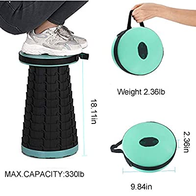 Retractable Folding Stools Portable Lightweight for Fishing BBQ Camping/Fishing/Hiking/Travel/Garden Use, Max Load 330lbs (Green): Kitchen & Dining