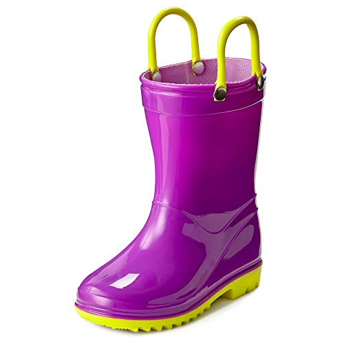 d5f59f90c Puddle Play Toddler and Kids Waterproof Solid Rain Boots with Easy-On  Handles - Size 12 Little Kid - Plum with Yellow Trimming GNR87559