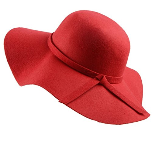 Wool Brim Red Hat Large (ForeMode Women's Foldable Wide Brim Felt Bowler Fedora Floopy Wool Hat (Red))