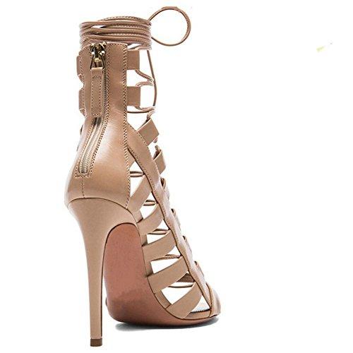 Mujer Cordones Aguja Peep Tacon Gladiador Clasico De Marron Sandalias Zapatos Alto TAOFFEN Con Tacon Toe BndWaq7a