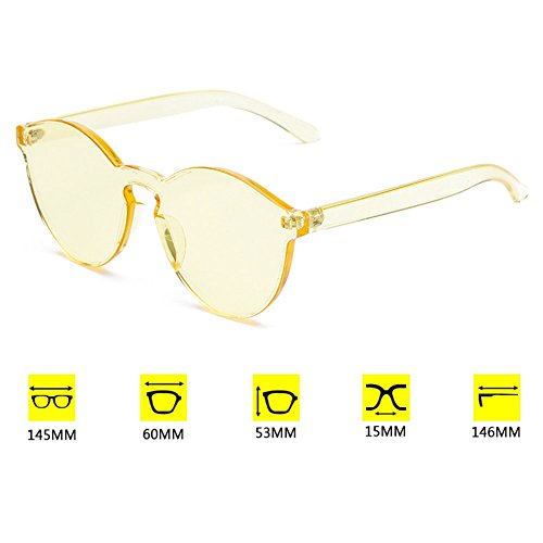 hibote Unisex Cat Eye Shades Lunettes de soleiles Integrated Lunettes Candy Color UV400 Jaune