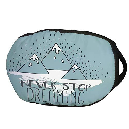 Fashion Cotton Antidust Face Mouth Mask,Quote,Mountain Peaks Never Stop Dreaming Goal Success Aspiration Inspiring Print,Light Green White,for women & men