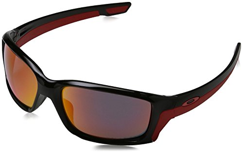(Oakley Men's Straightlink Polarized Iridium Rectangular Sunglasses, Polished black, 58 mm)