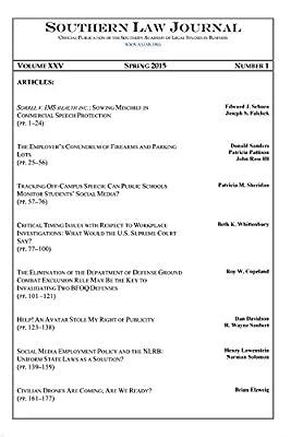 Southern Law Journal, Vol. XXV, No. 1, Spring 2015