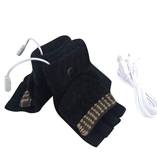 Euone  Gloves, Women Men USB Heated Mitten Full&Half Finger Winter Warm Knit Hand Gloves (C)
