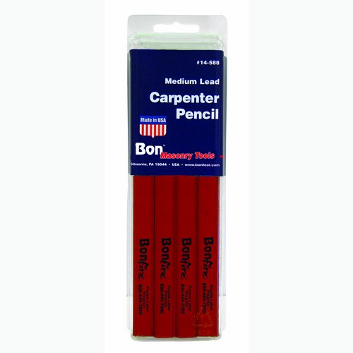 Bon 14-589 7-Inch Carpenter Pencil, Black Hard Lead with Red Casing, 12-Pack