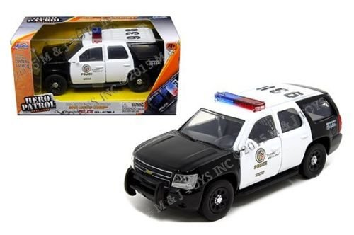 NEW 1:32 JADA TOY HERO PATROL PRECINCTS COLLECTION - WHITE BLACK 2010 CHEVROLET TAHOE LOS ANGELES POLICE DEPARTMENT Diecast Model Car By Jada Toys (Tahoe Model Cars)