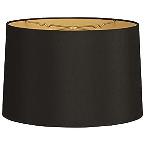 Royal Designs Shallow Drum Hardback Lamp Shade, Black, 17 x 18 x 11.5