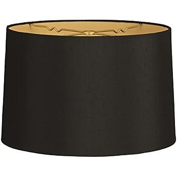 Sydnee satin black drum lamp shade 14x16x11 spider lampshades royal designs shallow drum hardback lamp shade black 13 x 14 x 9 mozeypictures Gallery