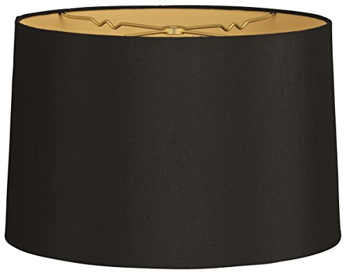 Royal Designs Shallow Drum Hardback Lamp Shade, Black, 9 x 10 x 7 (HB-610-10BLK/GL)