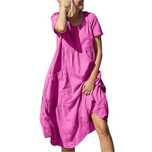 Dresses Summer Casual O-Neck Short Sleeve Midi o-Neck Party Dress Solid Loose Beach Casual Dress Women (M,Hot Pink)