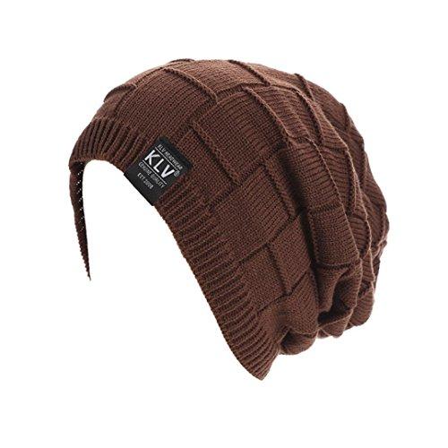 (Beanie Hat!Elevin(TM)Mens Fahsion Autumn Winter Warm Braided Crochet Wool Knit Beanie Hat Cap (coffee))
