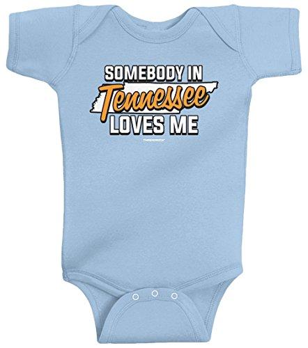 Threadrock Unisex Baby Somebody In Tennessee Loves Me Bodysuit 18M Light Blue