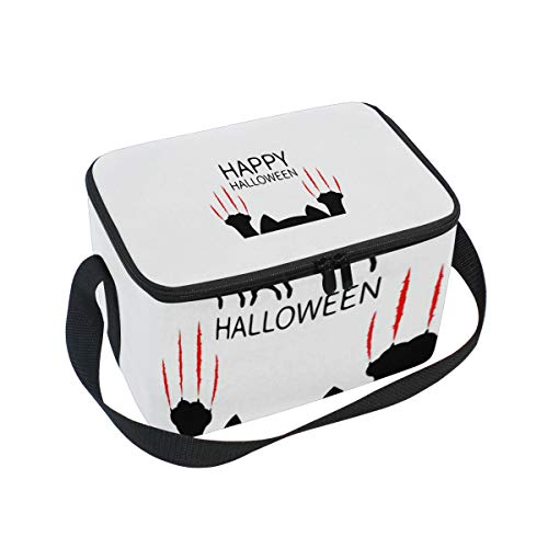 Insulated Meal Prep Lunch Bag Happy Halloween Black Cat Paw Ice Pack and Heavy Duty Strap - Portion Control Carrier Bags for Adult Men and Women]()