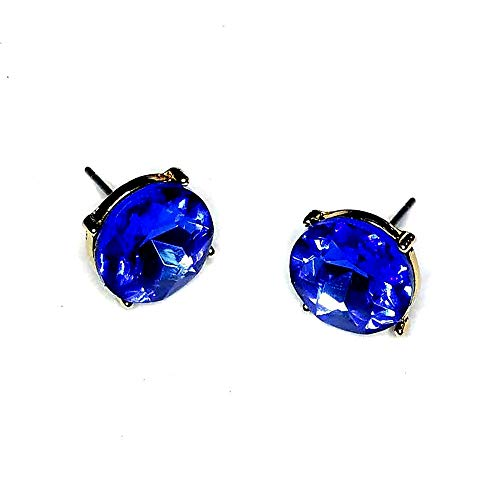 (Nine Brand Gold and Sapphire Blue Solitaire Crystal Post Earrings )