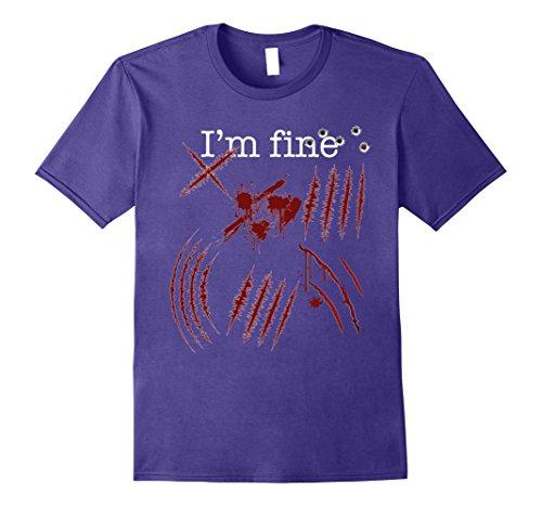 Girl Slash Costume (Mens Zombie T-Shirt Im fine Funny Zombie Halloween Costume Tee Large Purple)