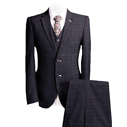 MAGE MALE Men's 3 Piece Suit Elegant Plaid Two Buckle Slim Single Breasted Blazer Vest Pants Set