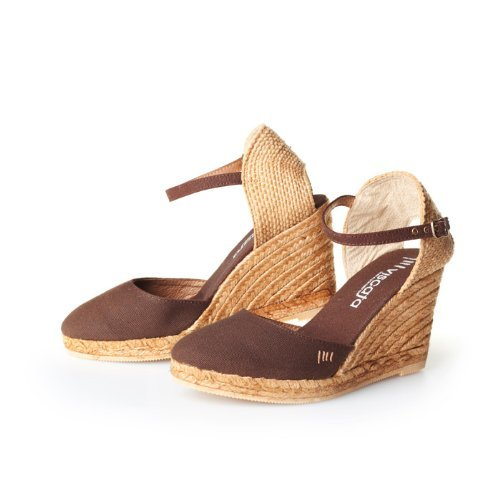 "VISCATA Satuna 3"" Wedge, Ankle-Strap, Closed Toe, Classic Espadrilles Heel Made in Spain Brown"