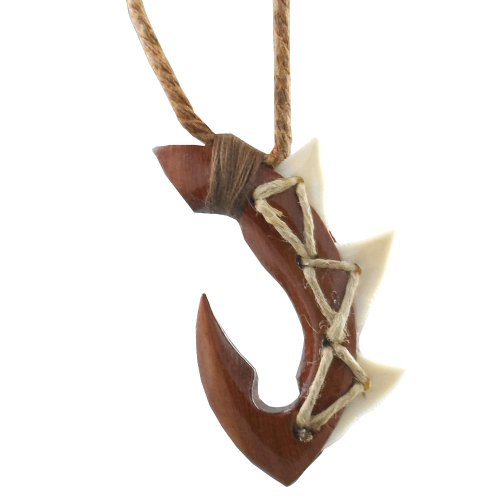 HAWAIIAN STYLE FISH HOOK - CARVED KOA WOOD W/ SHARK'S TEETH