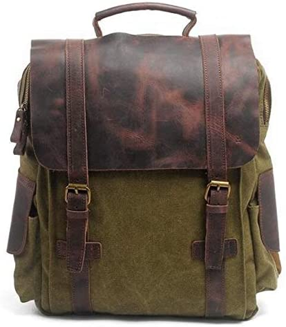 Color : Green Lydianzishangwu Retro Canvas Notebook Large Capacity Computer Bag School Backpack Multifunction Laptop Backpack