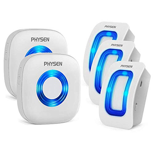 Physen Wireless Home Security Driveway Alarm,Motion Sensor Detect Alert, Store Door Entry Chime with 3 Motion Sensors and 2 Receivers,400ft Range,52 Chimes,4 Volume Levels,Build in LED Indicators ()