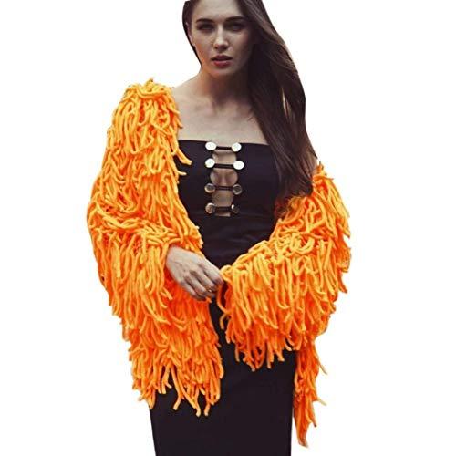 Giubotto Donna Primaverile Autunno Casual Maniche Lunghe Aperto A Forcella Outerwear Relaxed Leggero Elegante Casual Grazioso Puro Colore alla Moda Tassels Giacche Coat Arancia