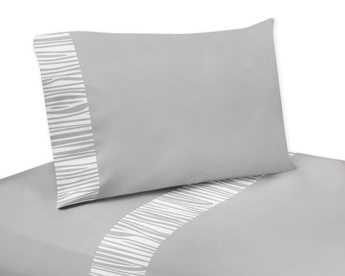 Sweet Jojo Designs 4 Piece Queen Sheet Set for Blue Grey and