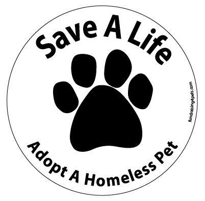 (Save a Life Adopt a Homeless Pet circle magnet - White)