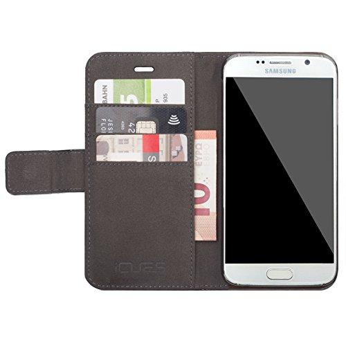 Samsung Galaxy S7 | iCues Maraba bolsa de Negro de Humo | ranura para tarjetas de cuero de alta calidad soporte función Stand - libro con bisagras de la manga bolsillo del teléfono celular bolsa prote Caiman negro