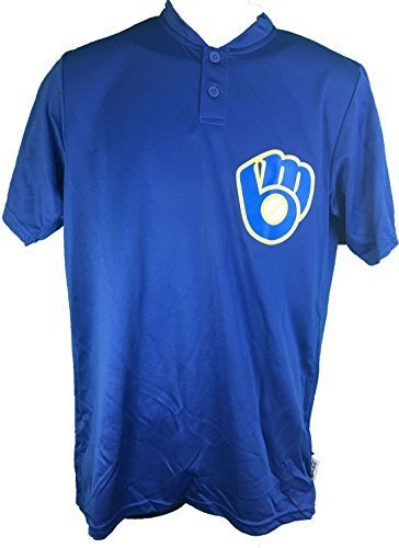 Majestic Milwaukee Brewers Cooperstown Collection Two Button Dri Fit Jersey T-Shirt (Small)