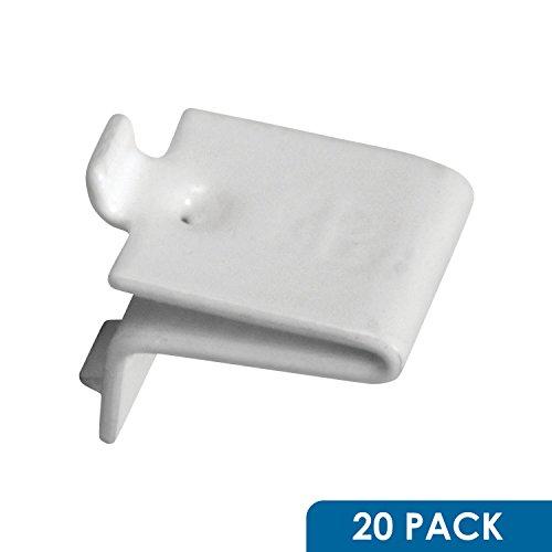 20 Pack White Knape & Vogt 256 Adjustable Steel Pilaster Shelf Support Clip