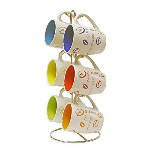 Home Basics MS30106 6-Piece Mug with Coffee Stand (Contemporary Coffee Mugs)