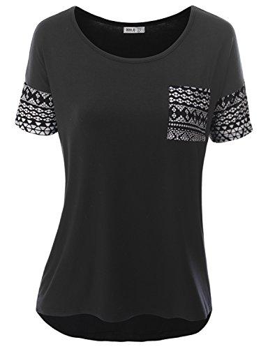 SJSP Women Short Sleeve Chevron Print Tunic Tank Top With Pocket Detail Dotaztec Large