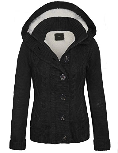 KOGMO Women's Cable Knit Sweater Cardigans with Buttons & Zipper & Hoodie-XL-BLACK