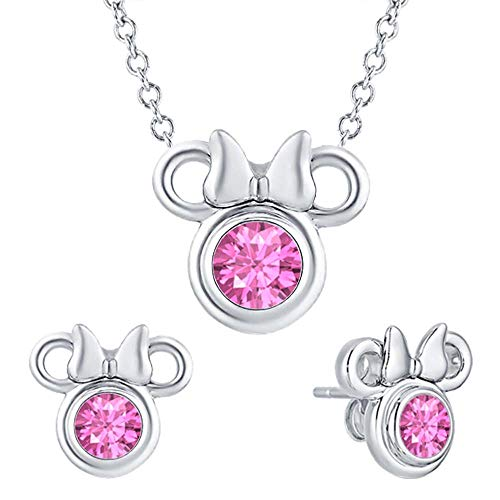 - tusakha Cute Mini Mouse .925 Sterling Silver Pink Sapphire Earring Pendant Set for Girl's