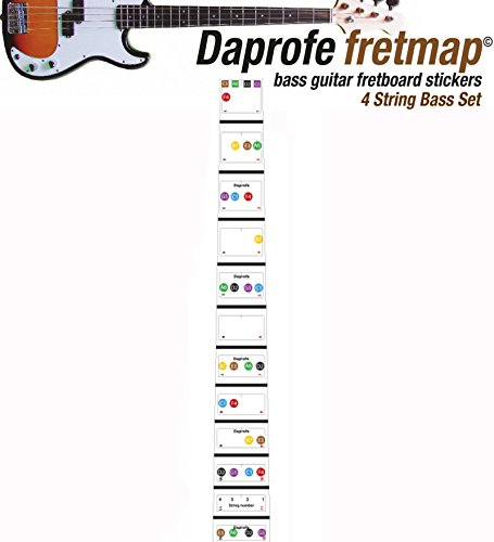 Daprofe Bass Guitar Fretboard Note Map Fingerboard Removable Vinyl Stickers 22 Fret Coverage - Guitar Fretboard Map
