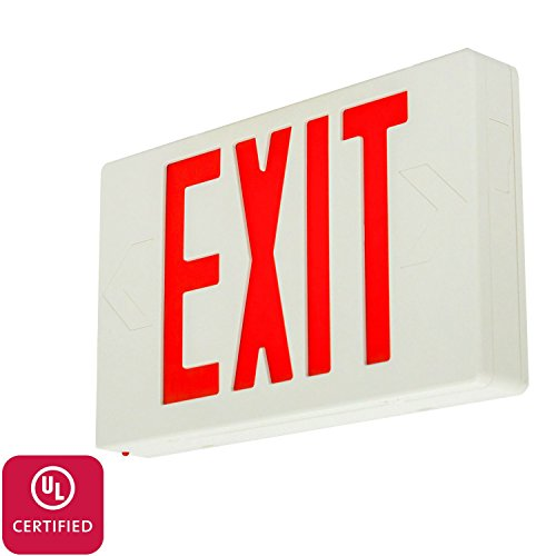 LFI Lights - UL Certified – Hardwired Red LED Standard Exit Emergency Sign Light - Battery Backup - LEDRBB