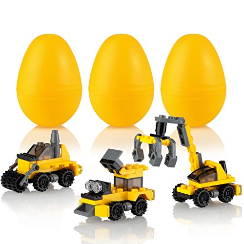 walla Easter Eggs with Building Blocks Toys Inside   3 Prefilled Surprise Egg with Construction Vehicles   Unique Mini Toy for Kids Makes a Fantastic Easter Basket Stuffer   - Egg Tractor