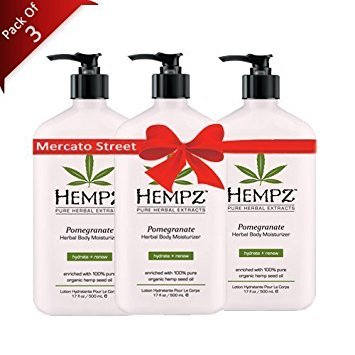 Hempz Pomegranate Herbal Body Moisturizer, Light Pink, 17 Oz Pack Of 3, 17 Oz