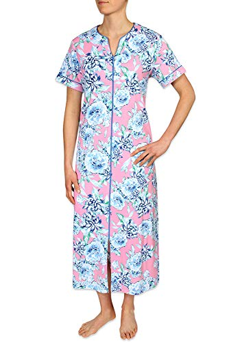 Miss Elaine Women's Long Interlock Knit Robe with Short Sleeves, Front Zipper, Two Inset Side Pockets, and - Two Knit Pockets