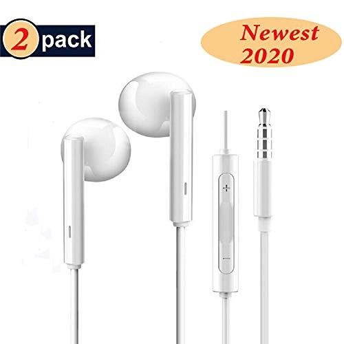 🥇 RURUI [2 Pack] Auriculares con Cable y Microfono Auriculares In-Ear Auriculares Movil Sonido Estéreo Auriculares Enchufe Micrófono Compatible con Teléfonos Celulares Jack 3.5mm- Blanco