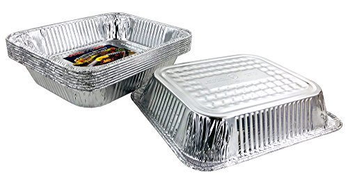 Aluminum Foil Pans - Half-Size Deep Disposable Steam Table Pans for Baking, Roasting, Broiling, Cooking, 12.75 x 10.25 x 2.56 - Heavy Duty Made in USA (Pack of 30) by PACTOGO (Image #1)