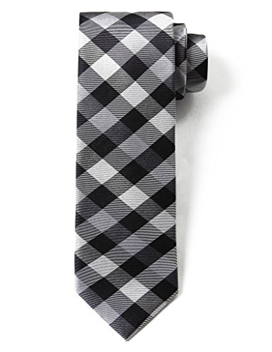 Origin Ties Fashion Gingham Plaid Men's Silk Skinny Tie Black