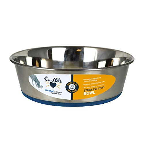 OurPets Durapet Premium Rubber-Bonded Stainless Steel Dog Bowl 4.5 (Big Rubber)