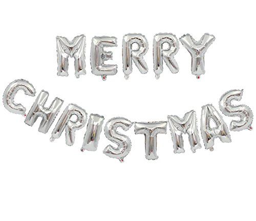 GoodPlay 16 Inches Christmas Balloons Merry Christmas Alphabet Letter Balloons Set Xmas Christmas Party Decoration Silver