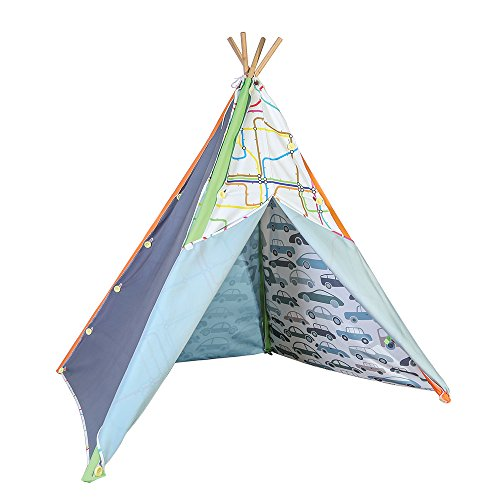 Pacific Play Tents Interchangeable Multi-Panel Poly Cotton Canvas Teepee for Kids - 45'' x 64'', Blue/Green by Pacific Play Tents