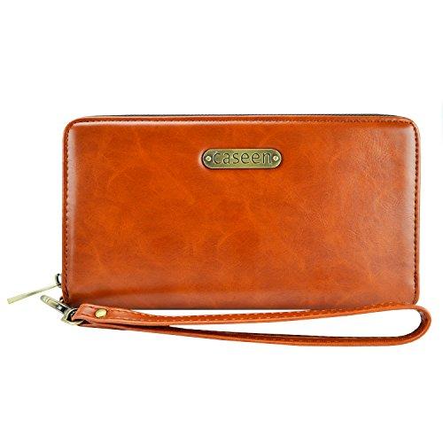Passport Case, Travel Wallet, caseen ARIA Fashion Leather Clutch Purse Wristlet (Brown) w/Passport Holder, Credit Card ID Cash Pocket, Wrist Strap, Zipper Coin Holder