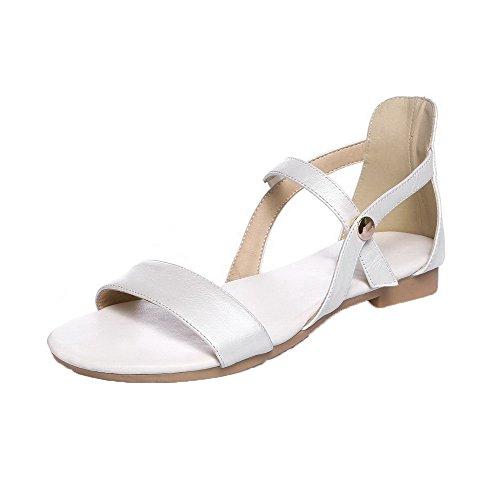AalarDom Mujer Puntera Abierta Mini Tacón Pu Sólido Sandalias de vestir Blanco